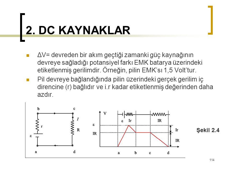 2. DC KAYNAKLAR  ΔV= devreden bir akım geçtiği zamanki güç kaynağının devreye sağladığı potansiyel farkı EMK batarya üzerindeki etiketlenmiş gerilimd