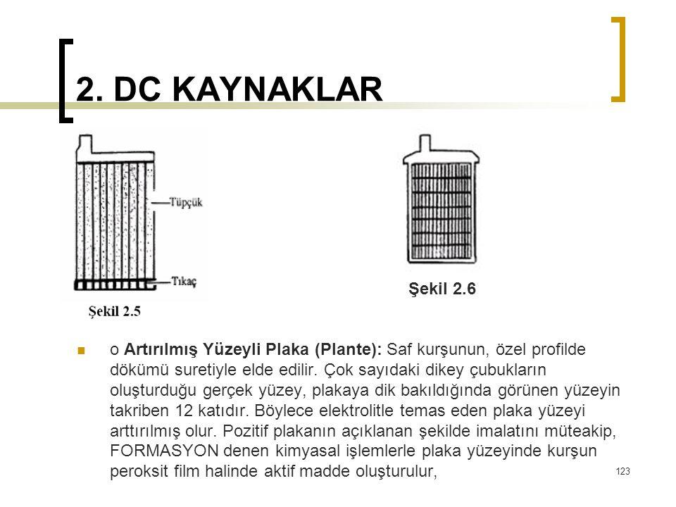 2. DC KAYNAKLAR  o Artırılmış Yüzeyli Plaka (Plante): Saf kurşunun, özel profilde dökümü suretiyle elde edilir. Çok sayıdaki dikey çubukların oluştur