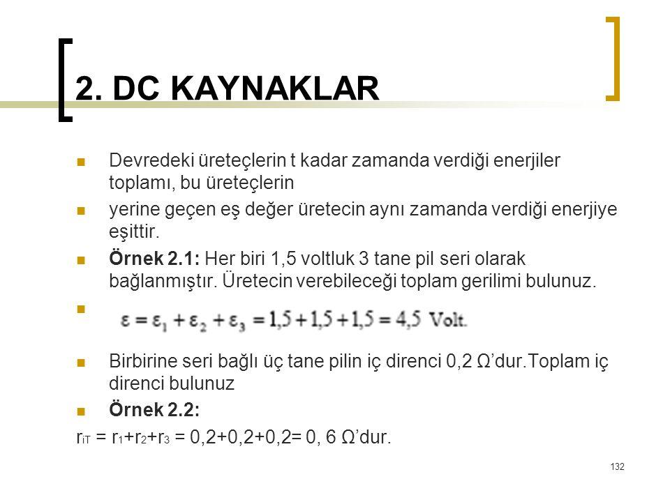 2. DC KAYNAKLAR  Devredeki üreteçlerin t kadar zamanda verdiği enerjiler toplamı, bu üreteçlerin  yerine geçen eş değer üretecin aynı zamanda verdiğ