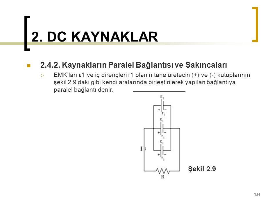 2. DC KAYNAKLAR  2.4.2. Kaynakların Paralel Bağlantısı ve Sakıncaları  EMK'ları ε1 ve iç dirençleri r1 olan n tane üretecin (+) ve (-) kutuplarının
