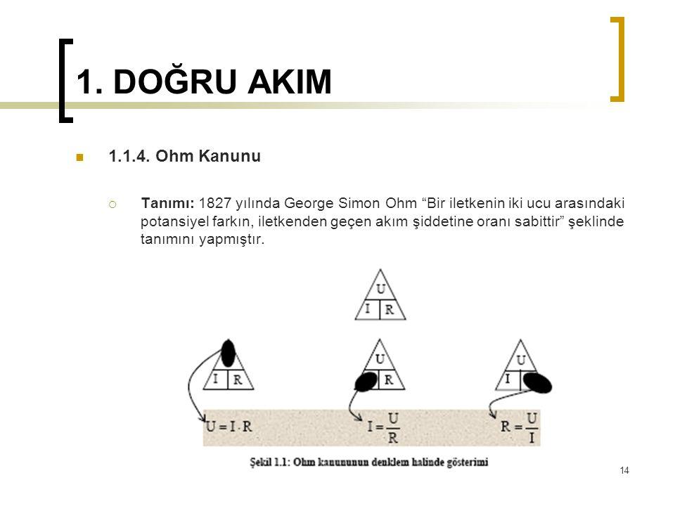 """1. DOĞRU AKIM  1.1.4. Ohm Kanunu  Tanımı: 1827 yılında George Simon Ohm """"Bir iletkenin iki ucu arasındaki potansiyel farkın, iletkenden geçen akım ş"""