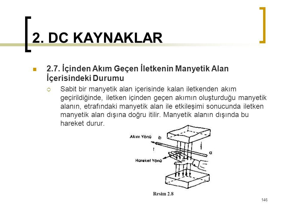 2. DC KAYNAKLAR  2.7. İçinden Akım Geçen İletkenin Manyetik Alan İçerisindeki Durumu  Sabit bir manyetik alan içerisinde kalan iletkenden akım geçir