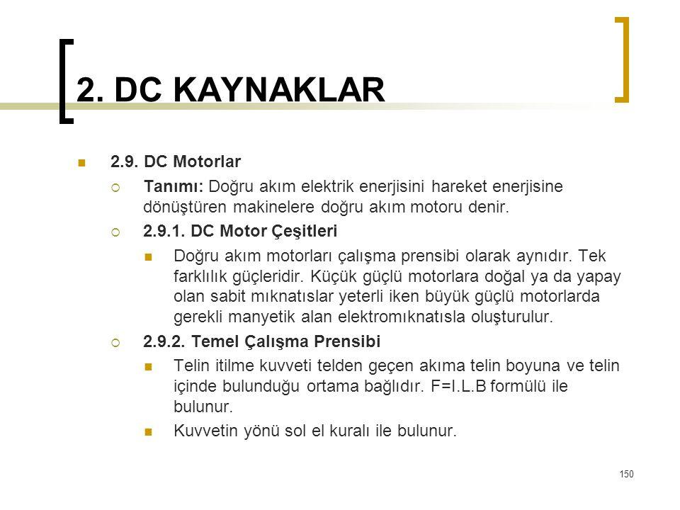 2. DC KAYNAKLAR  2.9. DC Motorlar  Tanımı: Doğru akım elektrik enerjisini hareket enerjisine dönüştüren makinelere doğru akım motoru denir.  2.9.1.