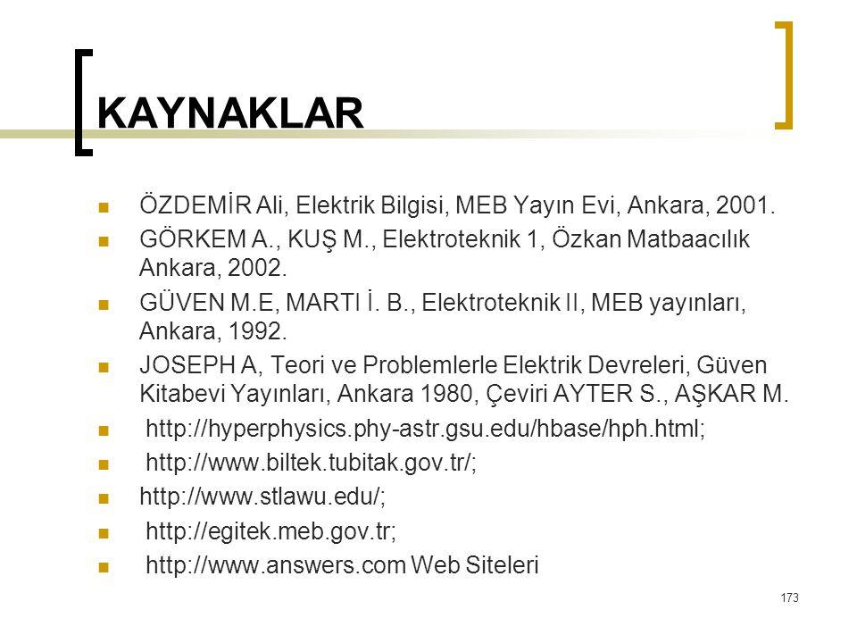 KAYNAKLAR  ÖZDEMİR Ali, Elektrik Bilgisi, MEB Yayın Evi, Ankara, 2001.  GÖRKEM A., KUŞ M., Elektroteknik 1, Özkan Matbaacılık Ankara, 2002.  GÜVEN