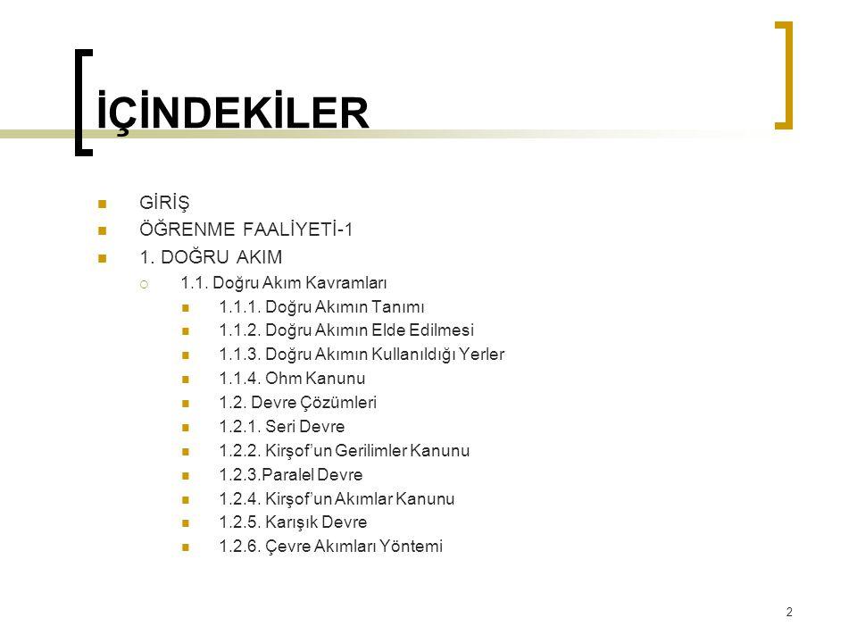 KAYNAKLAR  ÖZDEMİR Ali, Elektrik Bilgisi, MEB Yayın Evi, Ankara, 2001.