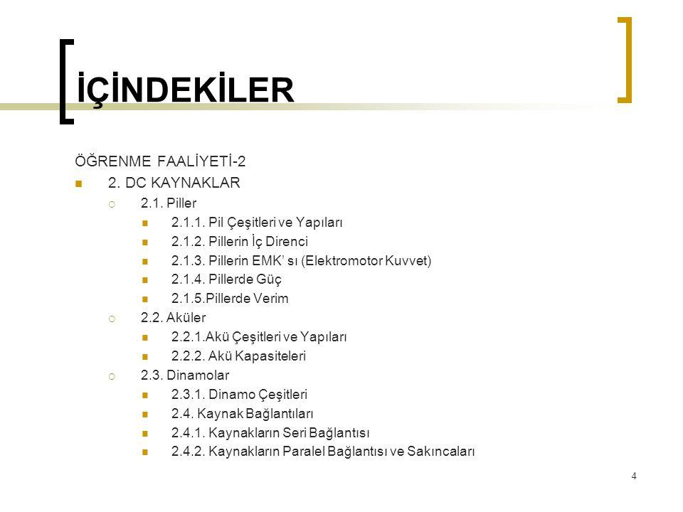 İÇİNDEKİLER ÖĞRENME FAALİYETİ-2  2. DC KAYNAKLAR  2.1. Piller  2.1.1. Pil Çeşitleri ve Yapıları  2.1.2. Pillerin İç Direnci  2.1.3. Pillerin EMK'
