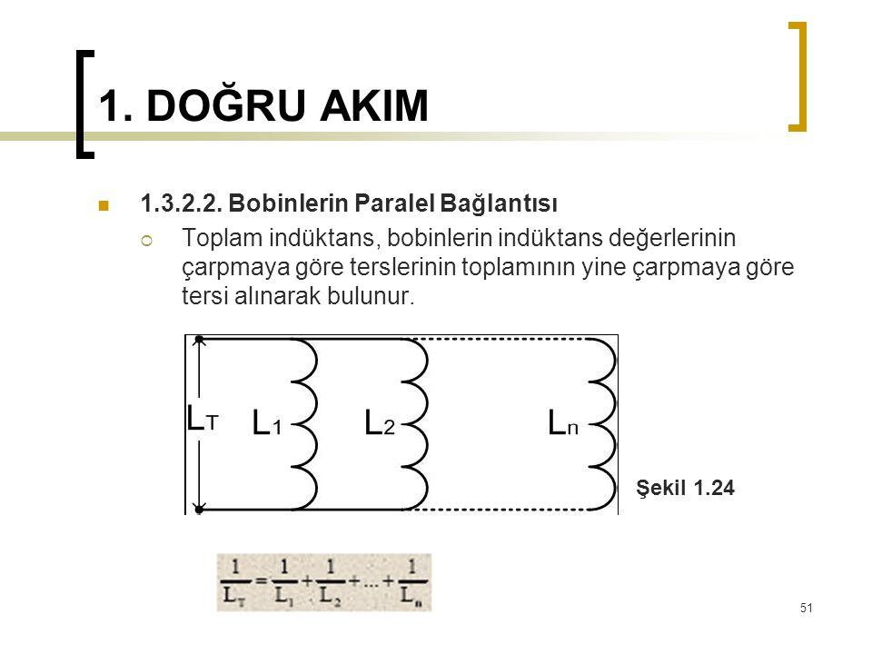 1. DOĞRU AKIM  1.3.2.2. Bobinlerin Paralel Bağlantısı  Toplam indüktans, bobinlerin indüktans değerlerinin çarpmaya göre terslerinin toplamının yine