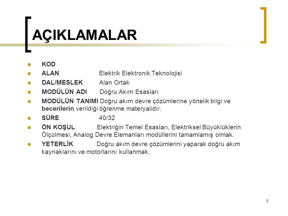 2.DC KAYNAKLAR  2.3.