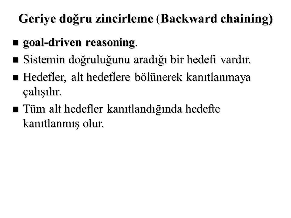 Geriye doğru zincirlemeBackward chaining) Geriye doğru zincirleme (Backward chaining) n goal-driven reasoning. n Sistemin doğruluğunu aradığı bir hede