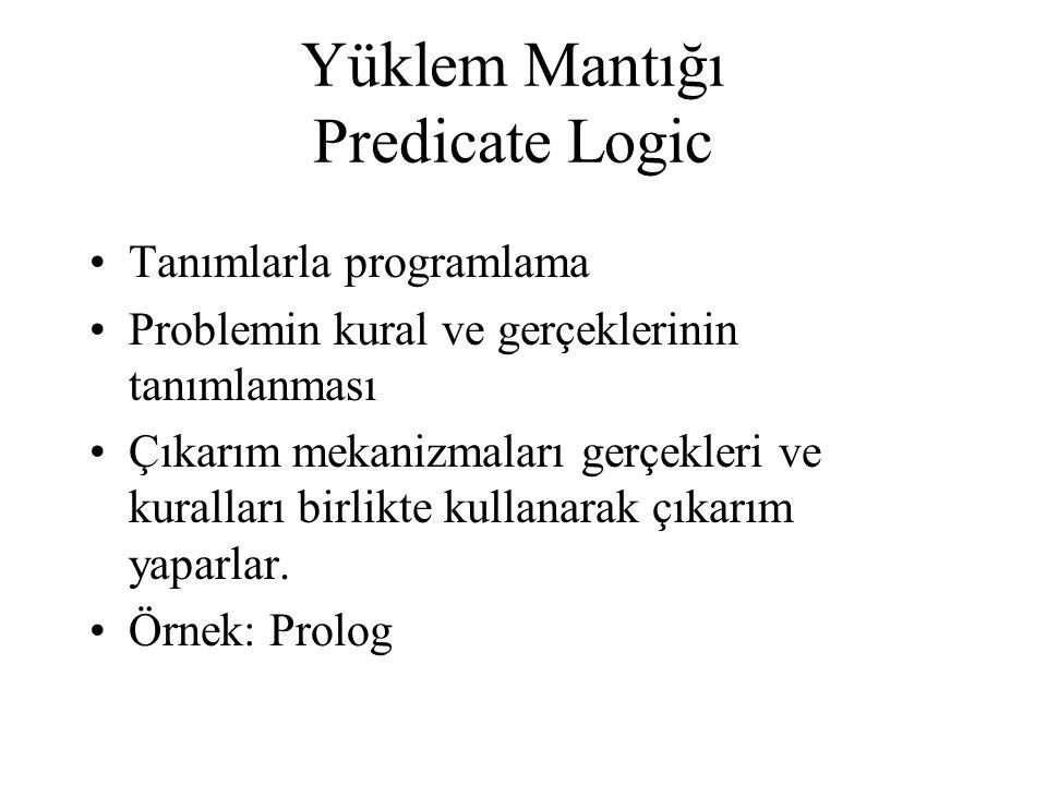 •Tanımlarla programlama •Problemin kural ve gerçeklerinin tanımlanması •Çıkarım mekanizmaları gerçekleri ve kuralları birlikte kullanarak çıkarım yapa