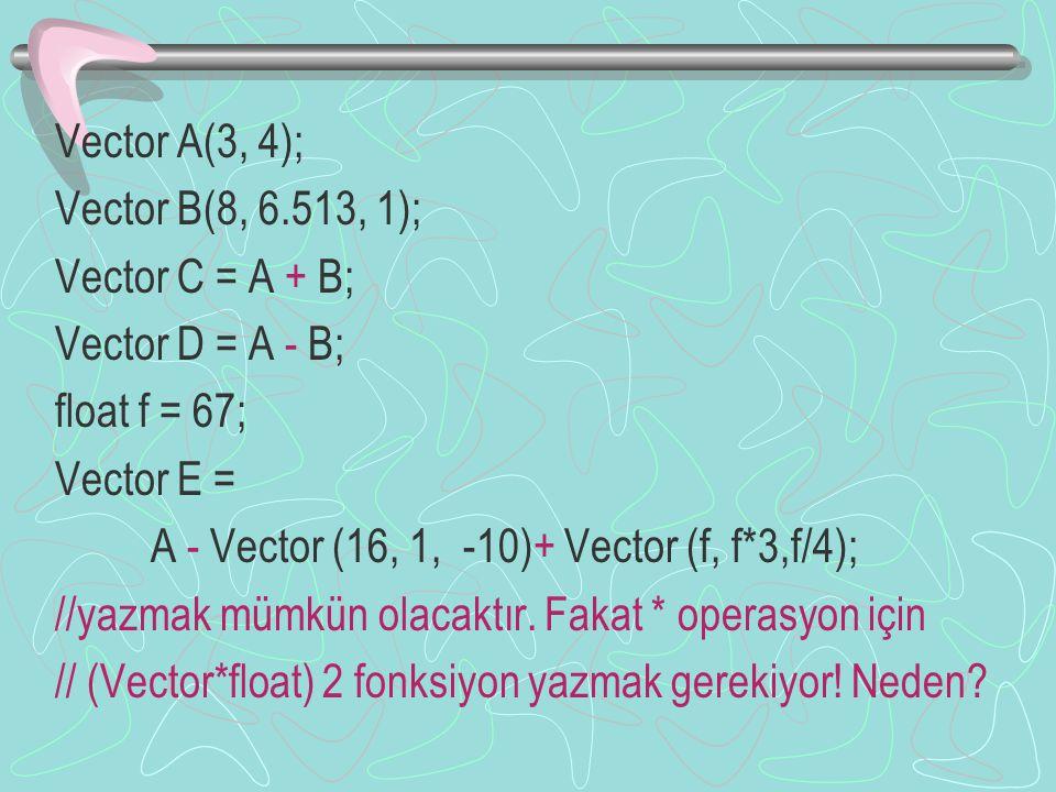 Vector A(3, 4); Vector B(8, 6.513, 1); Vector C = A + B; Vector D = A - B; float f = 67; Vector E = A - Vector (16, 1, -10)+ Vector (f, f*3,f/4); //yazmak mümkün olacaktır.