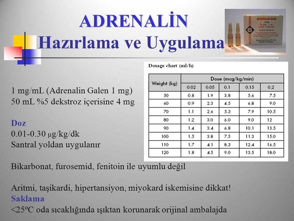 ADRENALİN ADRENALİN Hazırlama ve Uygulama 1 mg/mL (Adrenalin Galen 1 mg) 50 mL %5 dekstroz içerisine 4 mg Doz 0.01-0.30 μ g/kg/dk Santral yoldan uygul
