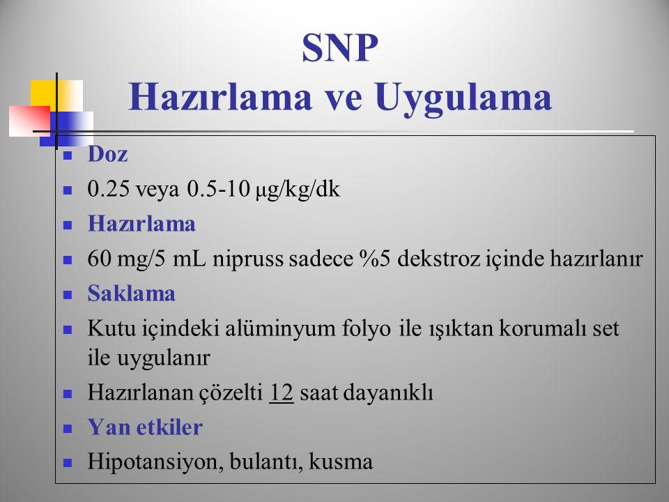 SNP Hazırlama ve Uygulama  Doz  0.25 veya 0.5-10 μ g/kg/dk  Hazırlama  60 mg/5 mL nipruss sadece %5 dekstroz içinde hazırlanır  Saklama  Kutu içindeki alüminyum folyo ile ışıktan korumalı set ile uygulanır  Hazırlanan çözelti 12 saat dayanıklı  Yan etkiler  Hipotansiyon, bulantı, kusma