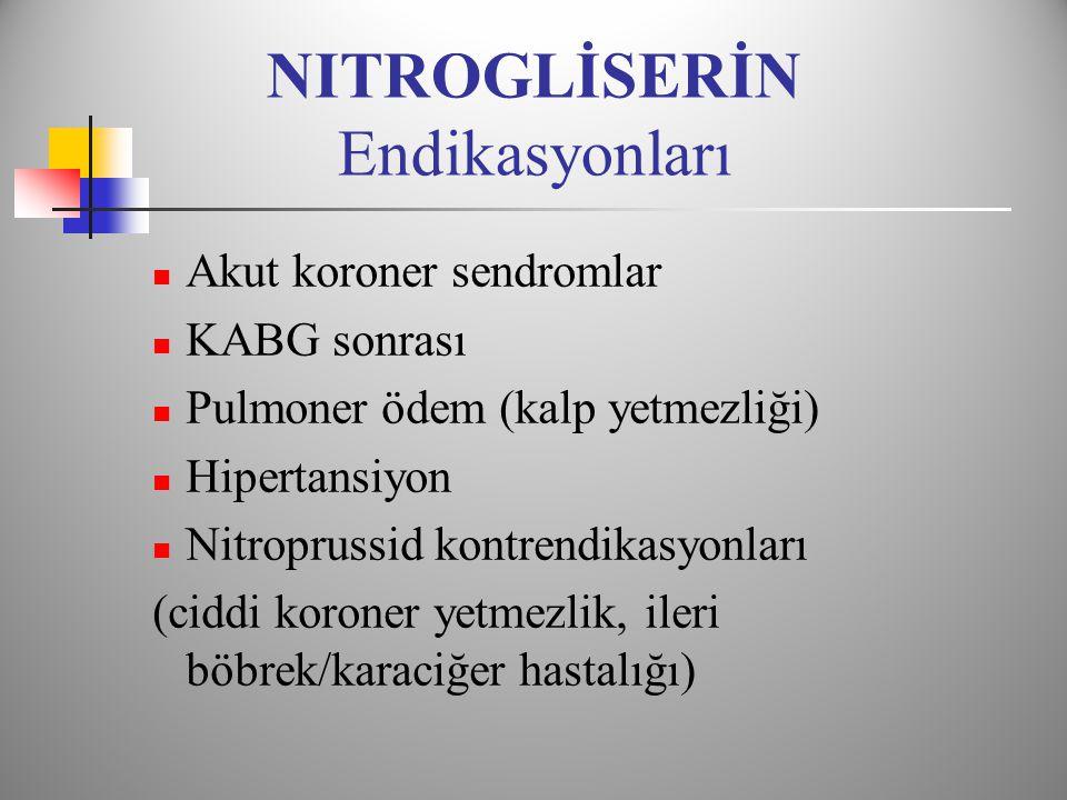 NITROGLİSERİN Endikasyonları  Akut koroner sendromlar  KABG sonrası  Pulmoner ödem (kalp yetmezliği)  Hipertansiyon  Nitroprussid kontrendikasyonları (ciddi koroner yetmezlik, ileri böbrek/karaciğer hastalığı)