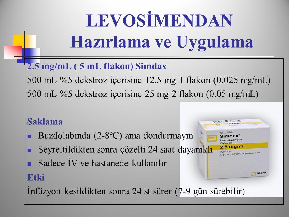 LEVOSİMENDAN Hazırlama ve Uygulama 2.5 mg/mL ( 5 mL flakon) Simdax 500 mL %5 dekstroz içerisine 12.5 mg 1 flakon (0.025 mg/mL) 500 mL %5 dekstroz içerisine 25 mg 2 flakon (0.05 mg/mL) Saklama  Buzdolabında (2-8ºC) ama dondurmayın  Seyreltildikten sonra çözelti 24 saat dayanıklı  Sadece İV ve hastanede kullanılır Etki İnfüzyon kesildikten sonra 24 st sürer (7-9 gün sürebilir)