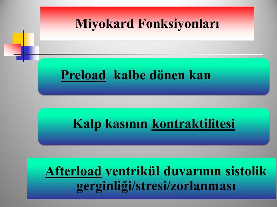 Miyokard Fonksiyonları Afterload ventrikül duvarının sistolik gerginliği/stresi/zorlanması Kalp kasının kontraktilitesi Preload kalbe dönen kan