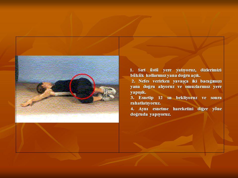 1. Sırt üstü yere yatıyoruz, dizlerimizi bükük kollarımız yana doğru açık. 1. Sırt üstü yere yatıyoruz, dizlerimizi bükük kollarımız yana doğru açık.