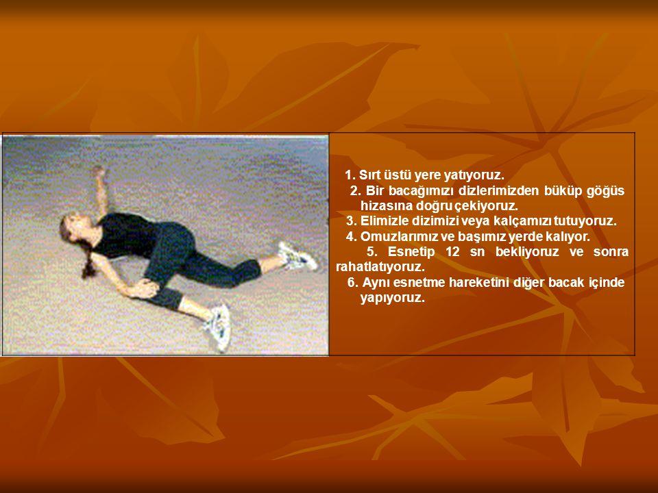 1. Sırt üstü yere yatıyoruz. 2. Bir bacağımızı dizlerimizden büküp göğüs hizasına doğru çekiyoruz. 3. Elimizle dizimizi veya kalçamızı tutuyoruz. 4. O
