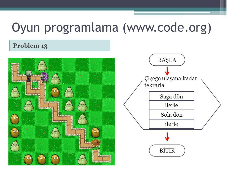 Oyun programlama (www.code.org) Problem 13 BAŞLA BİTİR Sağa dön Çiçeğe ulaşana kadar tekrarla ilerle Sola dön ilerle
