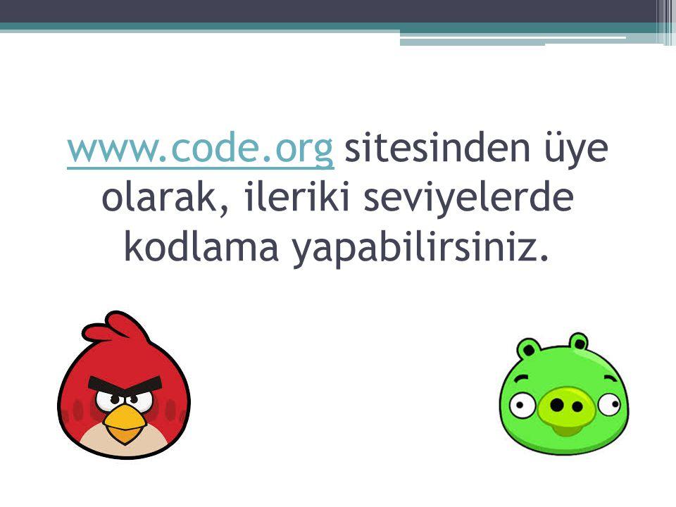 www.code.orgwww.code.org sitesinden üye olarak, ileriki seviyelerde kodlama yapabilirsiniz.