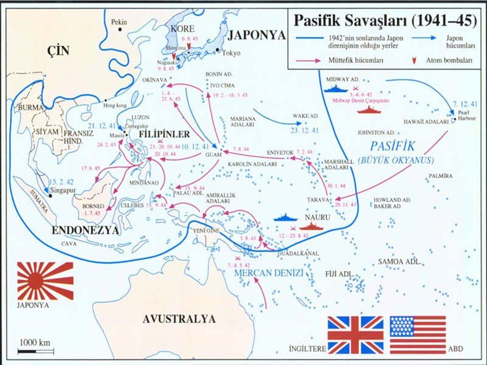 2-Pasifikte Savaşın Sona Ermesi Japonya'nın Teslim Olması  Müttefikler, 1942 yılında Pasifik'te Japon yayılmasını durdurmuşlardır. 1943 ve 1944 yılla