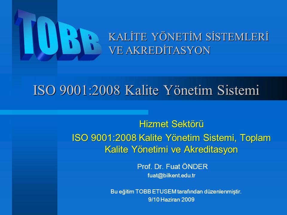 Kalite Yönetim Sistemi Kalite Yönetim Sistemi Çok genel anlamda ISO 9000 sistemi Kalite Sistem Dokümantasyonu : Kalite El Kitabı, Prosedürler, İş Talimatları, Formlar, Kayıtlar, Çizimler, Standartlar vb.