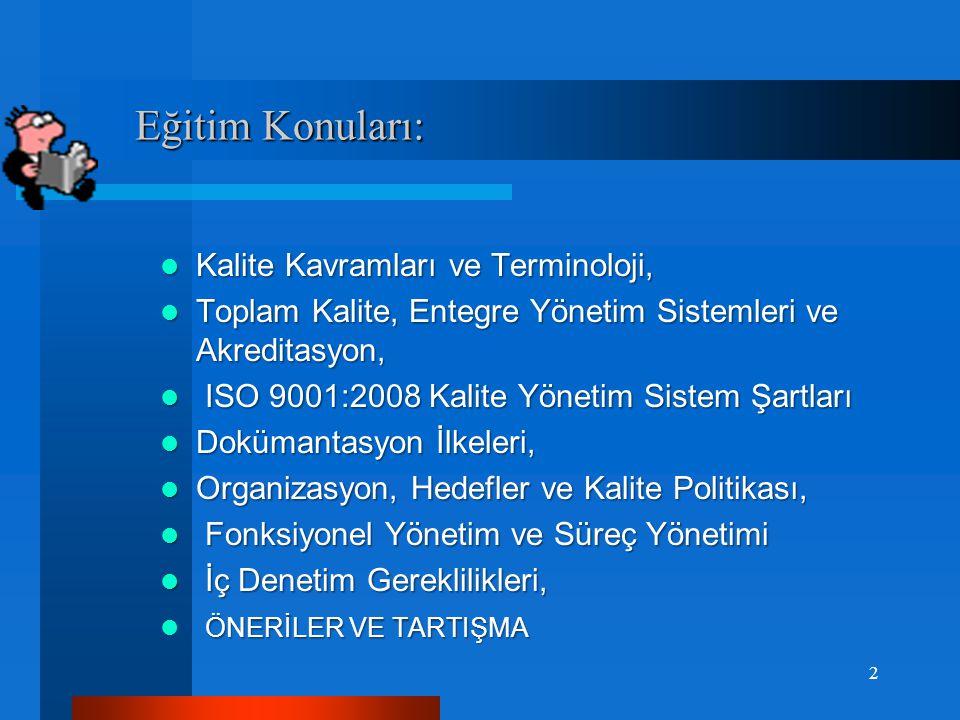 Eğitim Konuları: Eğitim Konuları:  Kalite Kavramları ve Terminoloji,  Toplam Kalite, Entegre Yönetim Sistemleri ve Akreditasyon,  ISO 9001:2008 Kalite Yönetim Sistem Şartları  Dokümantasyon İlkeleri,  Organizasyon, Hedefler ve Kalite Politikası,  Fonksiyonel Yönetim ve Süreç Yönetimi  İç Denetim Gereklilikleri, ÖNERİLER VE TARTIŞMA  ÖNERİLER VE TARTIŞMA 2