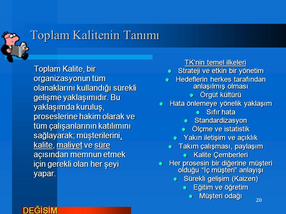 Toplam Kalite Yönetimi Toplam Kalite Yönetimi Dr. Deming tarafından tanımı yapılan ve yeni bir yönetim anlayışı olan toplam kalite yönetimi şöyle ifad