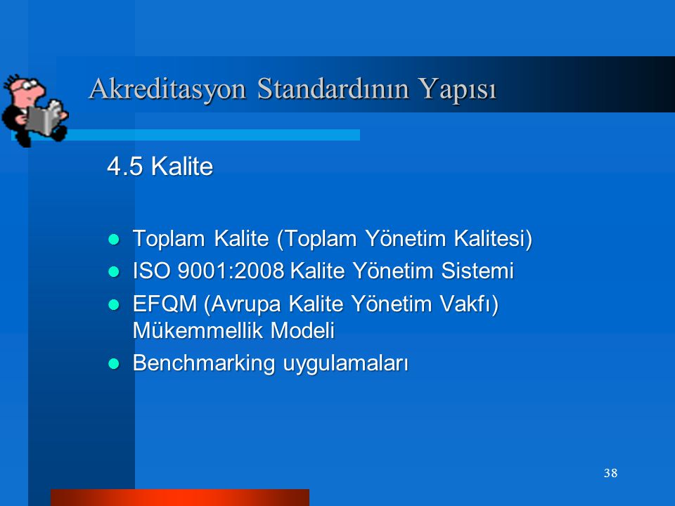 Akreditasyon Standardının Yapısı Akreditasyon Standardının Yapısı 1. İş Alemi ile İlişkiler, 1.1 Haberleşme ve Yayınlar 1.2 Politika ve Temsil 1.3 Bil
