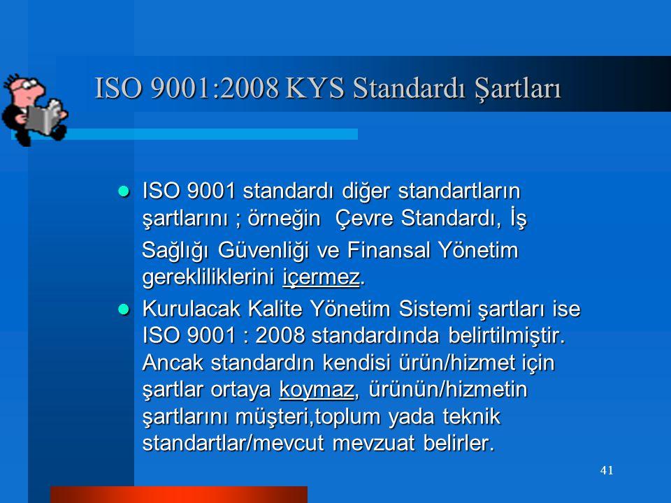 ISO 9001:2008 Kalite Yönetim Sistem Standardı Şartları ISO 9001:2008 Kalite Yönetim Sistem Standardı Şartları  Bu standart bir kalite sistemi için organizasyon tarafından kuruluş içindeki uygulamaları ve belgelendirme veya sözleşme amaçları için kullanılmak üzere şartları belirleyerek müşteri şartlarının karşılanmasında kalite yönetim sisteminin etkinliğine odaklanır.