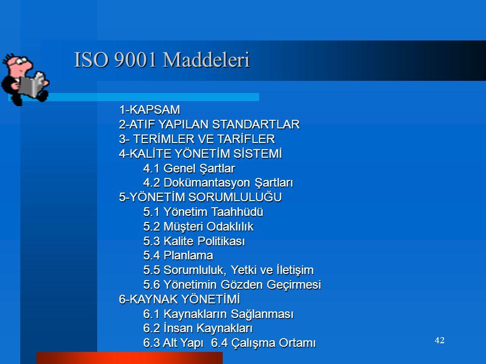 ISO 9001:2008 KYS Standardı Şartları ISO 9001:2008 KYS Standardı Şartları  ISO 9001 standardı diğer standartların şartlarını ; örneğin Çevre Standardı, İş Sağlığı Güvenliği ve Finansal Yönetim gerekliliklerini içermez.