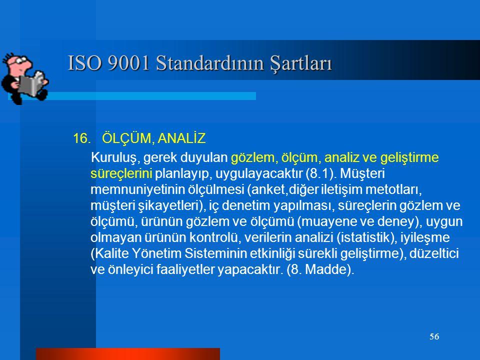 ISO 9001 Standardının Şartları ISO 9001 Standardının Şartları 15. ÜRÜN / HİZMET Kuruluş, ürün/hizmet gerçekleştirilmesinde planlama, ürünle ilgili kal