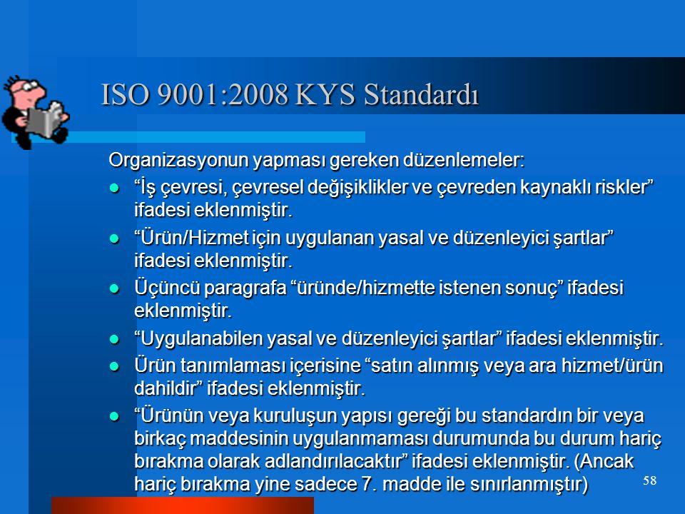 ISO 9001:2008 KYS Standardı ISO 9001:2008 KYS Standardı  ISO9001:2008 standardı Kasım/2008 den itibaren uygulamaya girmiştir.Revizyon gören ISO9001:2000 standardının Temmuz 2009 da yenisinin belgelendirilme denetimlerine başlanıp Kasım 2010 tarihine kadar eskisi geçerli olacaktır.