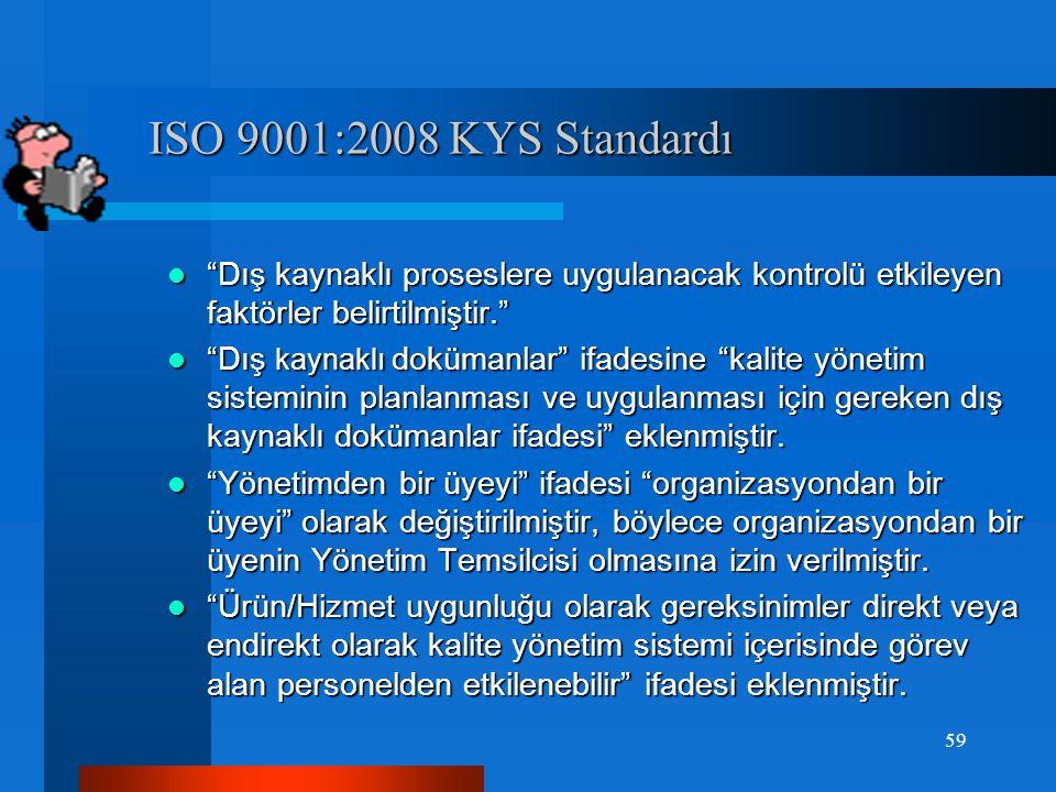 ISO 9001:2008 KYS Standardı ISO 9001:2008 KYS Standardı Organizasyonun yapması gereken düzenlemeler:  İş çevresi, çevresel değişiklikler ve çevreden kaynaklı riskler ifadesi eklenmiştir.