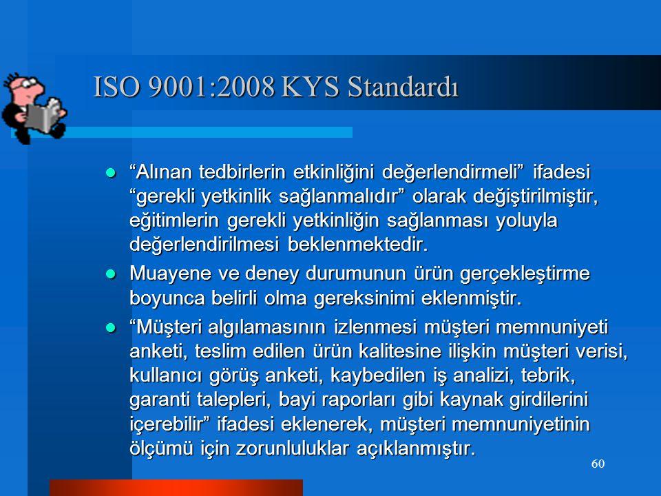 ISO 9001:2008 KYS Standardı ISO 9001:2008 KYS Standardı  Dış kaynaklı proseslere uygulanacak kontrolü etkileyen faktörler belirtilmiştir.  Dış kaynaklı dokümanlar ifadesine kalite yönetim sisteminin planlanması ve uygulanması için gereken dış kaynaklı dokümanlar ifadesi eklenmiştir.