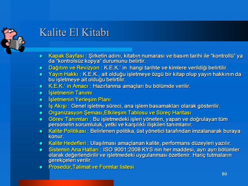 Bir kalite sisteminin oluşturulması ve uygulanmasında kullanılan temel doküman Kalite El Kitabı dır.