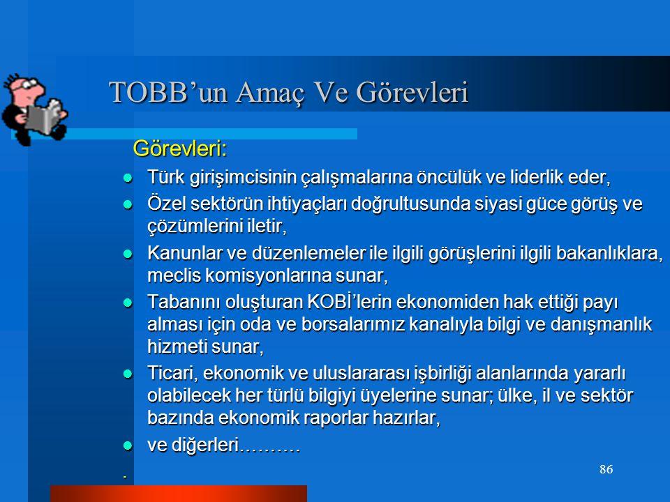 TOBB'un Amaç Ve Görevleri TOBB'un Amaç Ve Görevleri Amacı: Odalar ve borsalar arasında birlik ve dayanışmayı sağlamak, ticaret ve sanayinin genel menf
