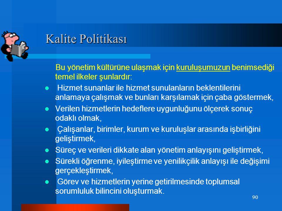 Örnek:Kalite Politikası Örnek:Kalite Politikası  Kalite politikamız; hizmet sunulan kişi, kurum ve kuruluşlar ile hizmet sunan çalışanlarımızın bekle