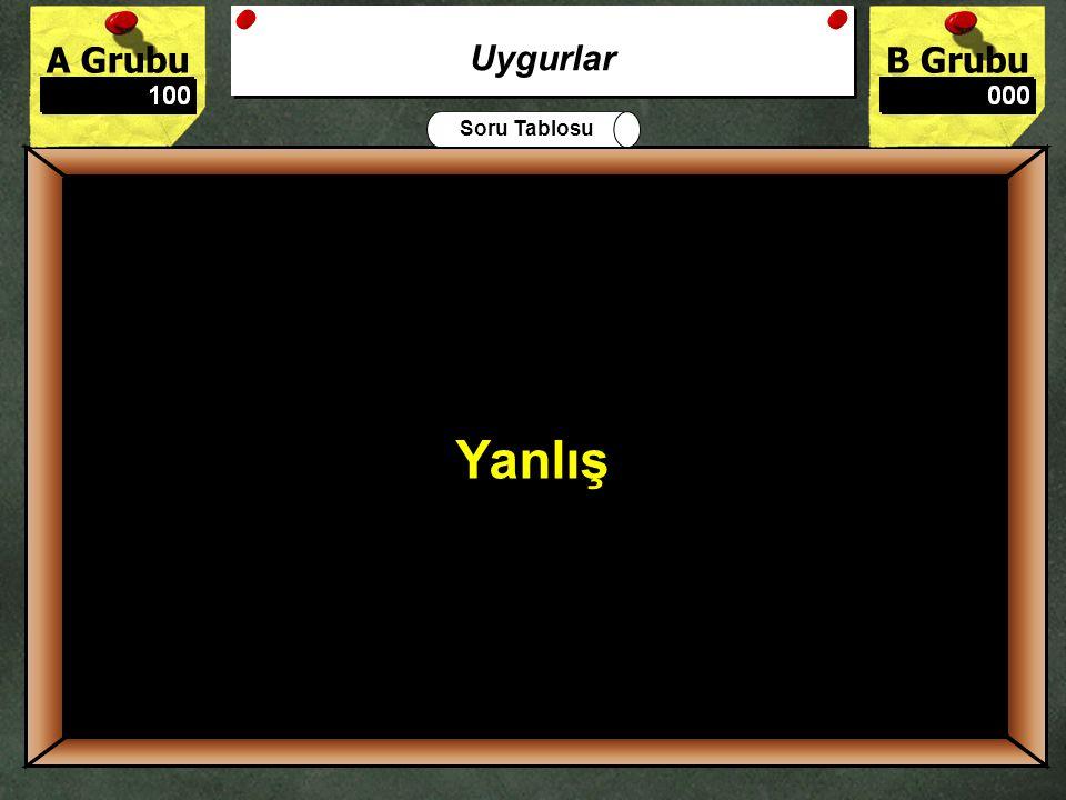 A GrubuB Grubu Soru Tablosu Uygurlar Uygurlar surlarla çevrili şehirlere balık ismini vermiştir 300 Doğru