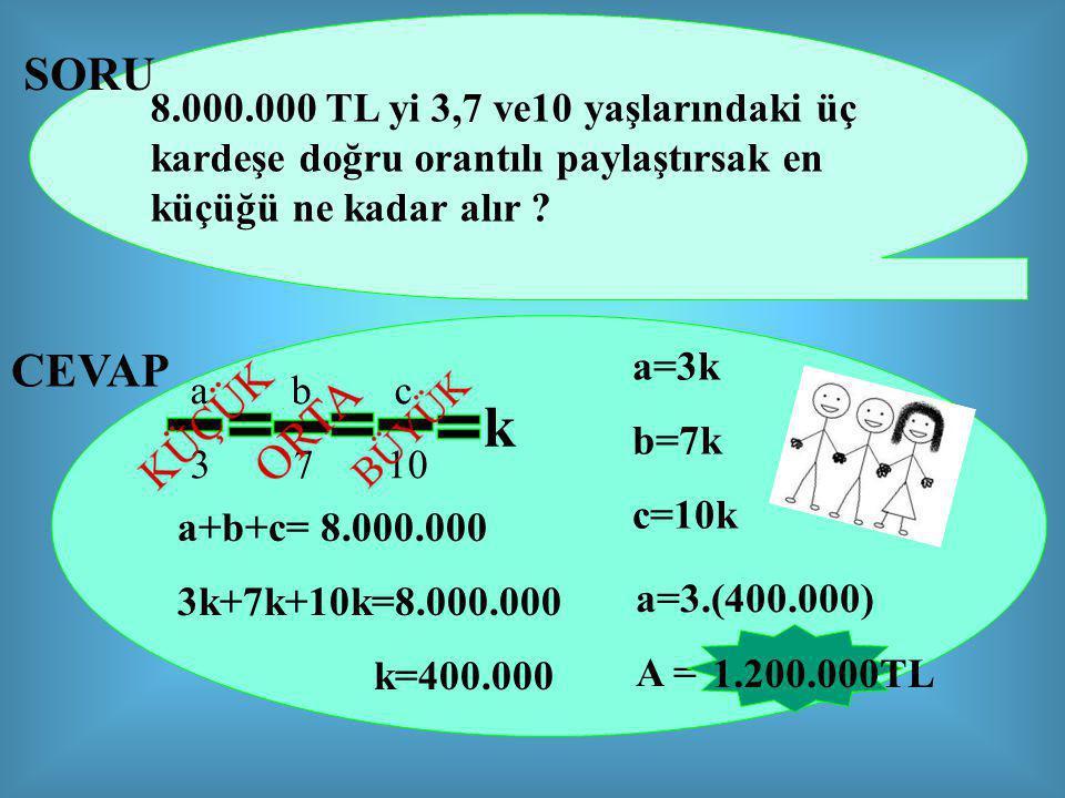 8.000.000 TL yi 3,7 ve10 yaşlarındaki üç kardeşe doğru orantılı paylaştırsak en küçüğü ne kadar alır .
