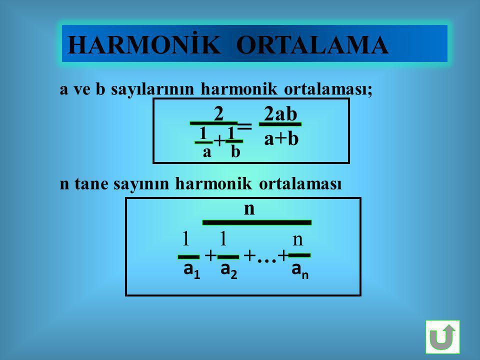 HARMONİK ORTALAMA a ve b sayılarının harmonik ortalaması; 2 1 1 a b + = 2ab a+b n tane sayının harmonik ortalaması n 1 1 n a 1 a 2 a n + +…+