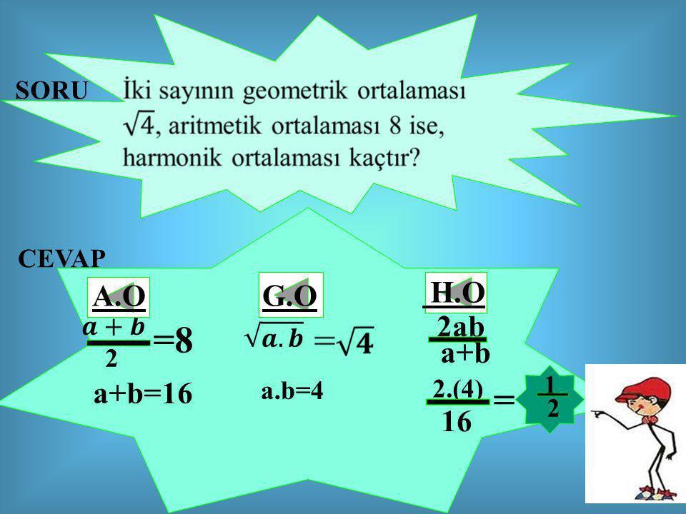 SORU CEVAP 2 =8 a+b=16 a.b=4 2ab a+b 2.(4) 16 = 2 1 A.OG.O H.O