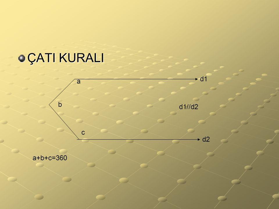 ÇATI KURALI b a c a+b+c=360 d1 d2 d1//d2