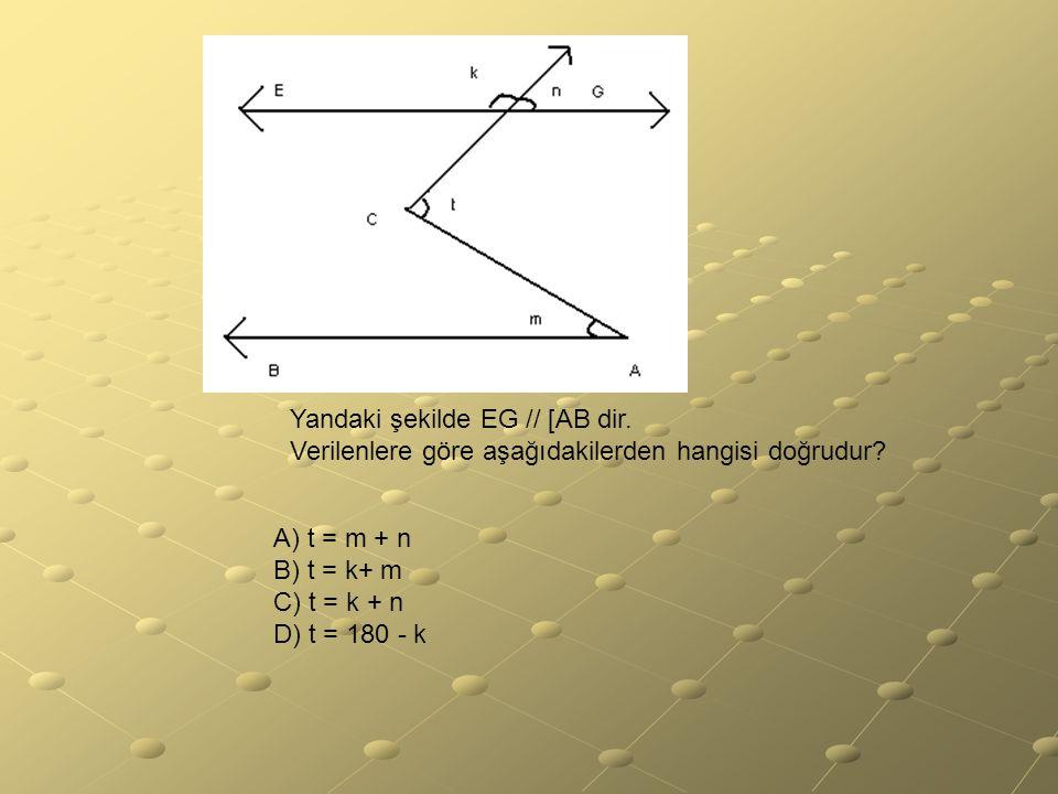 Yandaki şekilde EG // [AB dir. Verilenlere göre aşağıdakilerden hangisi doğrudur? A) t = m + n B) t = k+ m C) t = k + n D) t = 180 - k