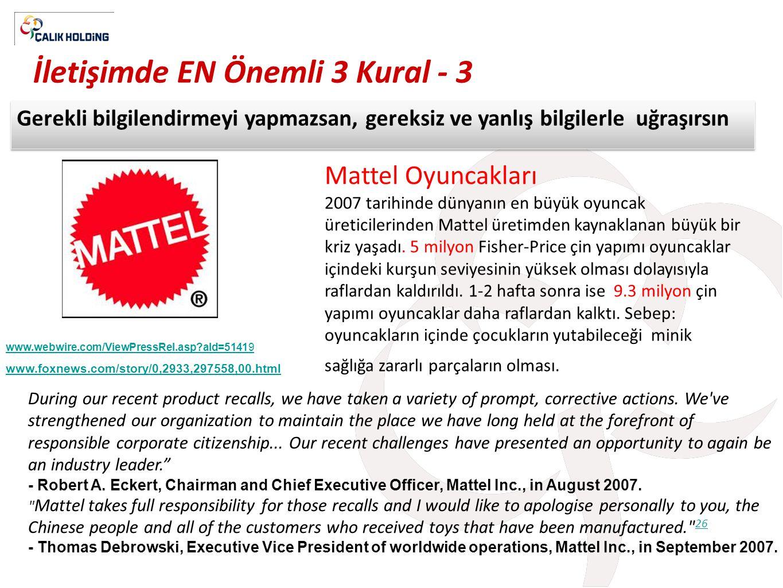 İletişimde EN Önemli 3 Kural - 3 Gerekli bilgilendirmeyi yapmazsan, gereksiz ve yanlış bilgilerle uğraşırsın Mattel Oyuncakları 2007 tarihinde dünyanı