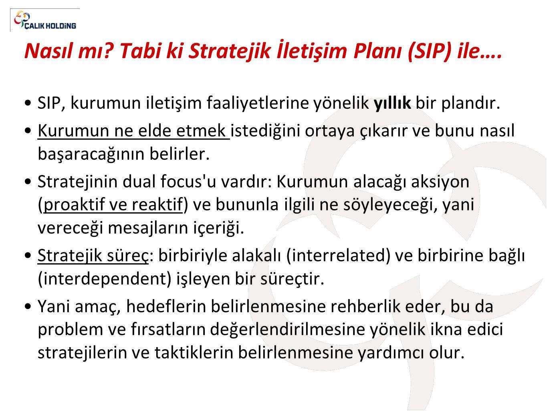 Nasıl mı? Tabi ki Stratejik İletişim Planı (SIP) ile…. •SIP, kurumun iletişim faaliyetlerine yönelik yıllık bir plandır. •Kurumun ne elde etmek istedi
