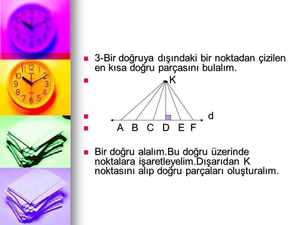  3-Bir doğruya dışındaki bir noktadan çizilen en kısa doğru parçasını bulalım.  K  d  A B C D E F  Bir doğru alalım.Bu doğru üzerinde noktalara i