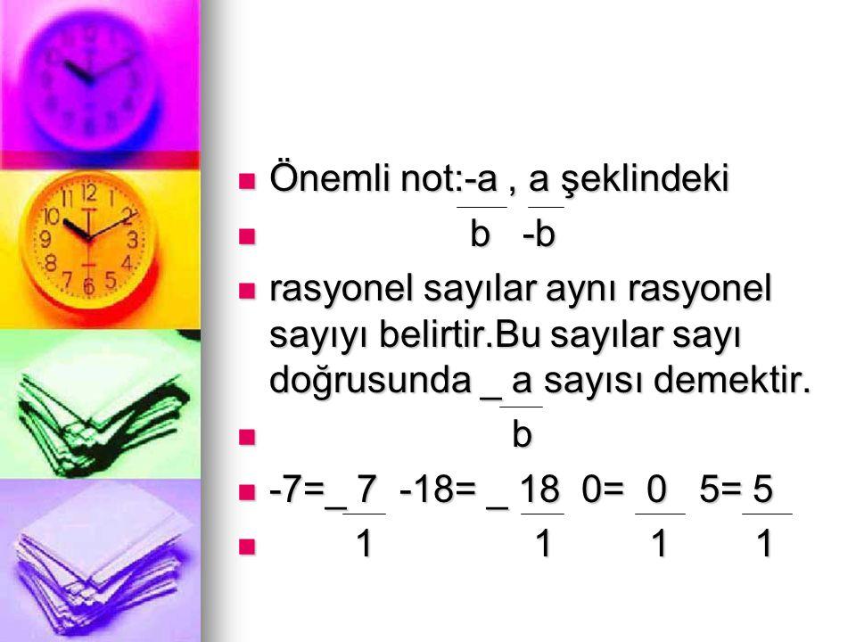  Önemli not:-a, a şeklindeki  b -b  rasyonel sayılar aynı rasyonel sayıyı belirtir.Bu sayılar sayı doğrusunda _ a sayısı demektir.  b  -7=_ 7 -18
