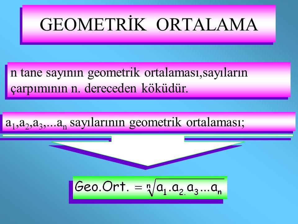 GEOMETRİK ORTALAMA a 1,a 2,a 3,...a n sayılarının geometrik ortalaması; a 1,a 2,a 3,...a n sayılarının geometrik ortalaması; n tane sayının geometrik