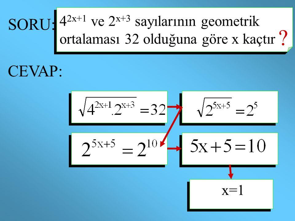 SORU: 4 2x+1 ve 2 x+3 sayılarının geometrik ortalaması 32 olduğuna göre x kaçtır ? CEVAP: x=1